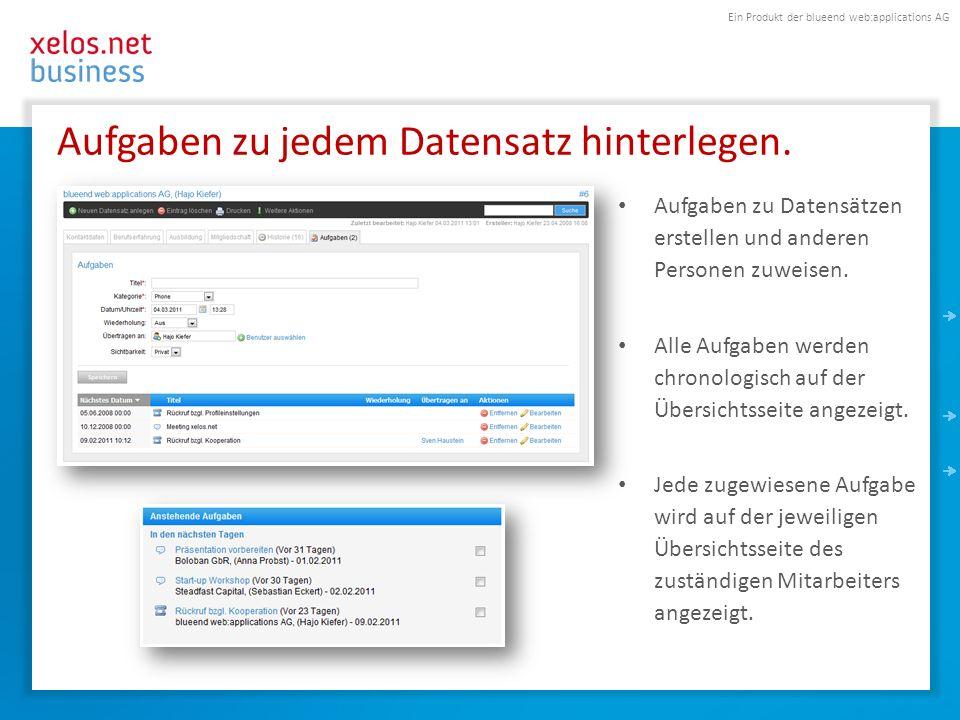 Ein Produkt der blueend web:applications AG Aufgaben zu jedem Datensatz hinterlegen. Aufgaben zu Datensätzen erstellen und anderen Personen zuweisen.