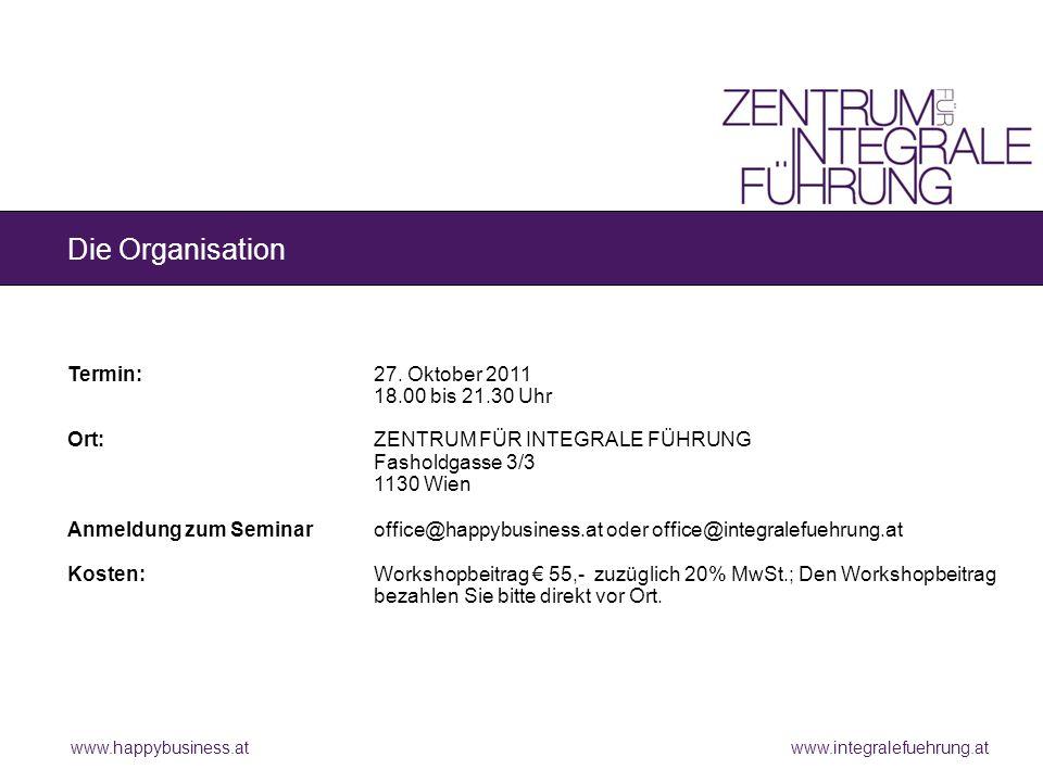 www.happybusiness.at www.integralefuehrung.at Die Organisation Termin:27.