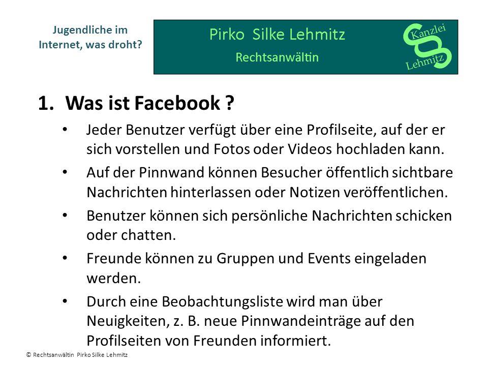 1.Was ist Facebook ? Jeder Benutzer verfügt über eine Profilseite, auf der er sich vorstellen und Fotos oder Videos hochladen kann. Auf der Pinnwand k