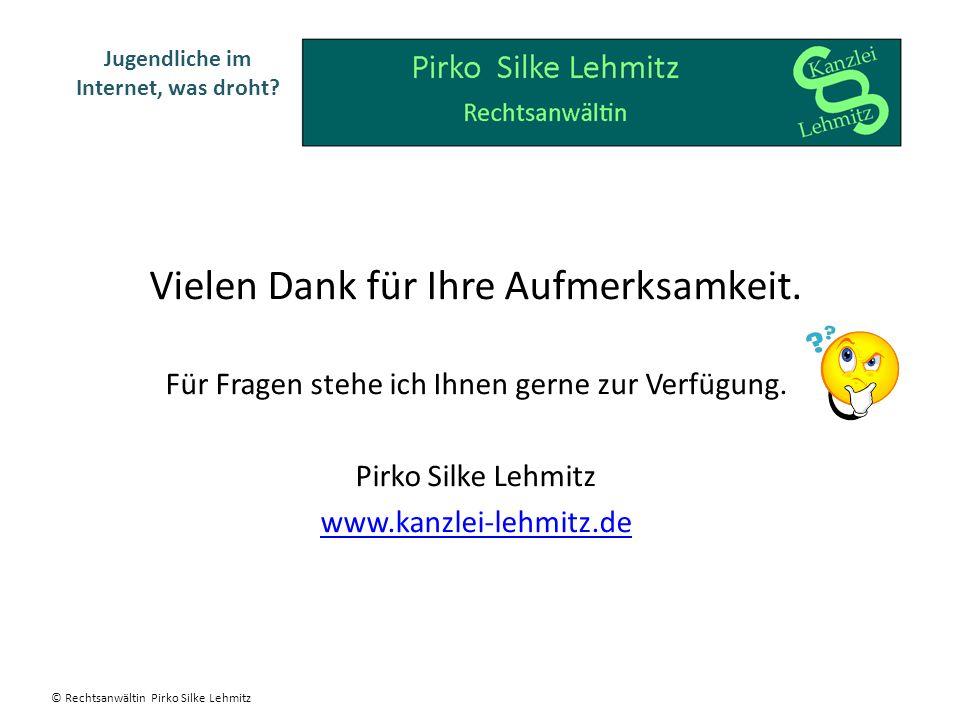 Vielen Dank für Ihre Aufmerksamkeit. Für Fragen stehe ich Ihnen gerne zur Verfügung. Pirko Silke Lehmitz www.kanzlei-lehmitz.de Jugendliche im Interne