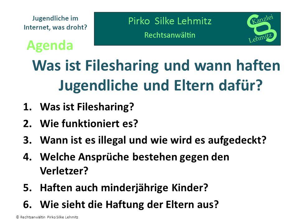 Was ist Filesharing und wann haften Jugendliche und Eltern dafür? 1.Was ist Filesharing? 2.Wie funktioniert es? 3.Wann ist es illegal und wie wird es
