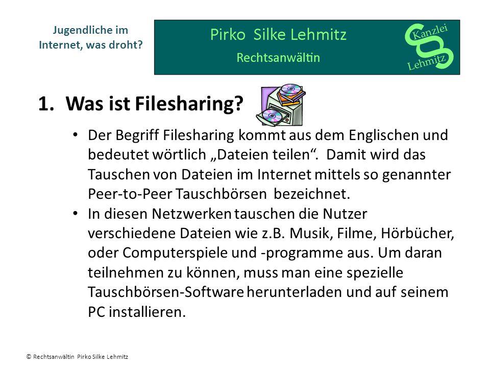 1.Was ist Filesharing? Jugendliche im Internet, was droht? Der Begriff Filesharing kommt aus dem Englischen und bedeutet wörtlich Dateien teilen. Dami