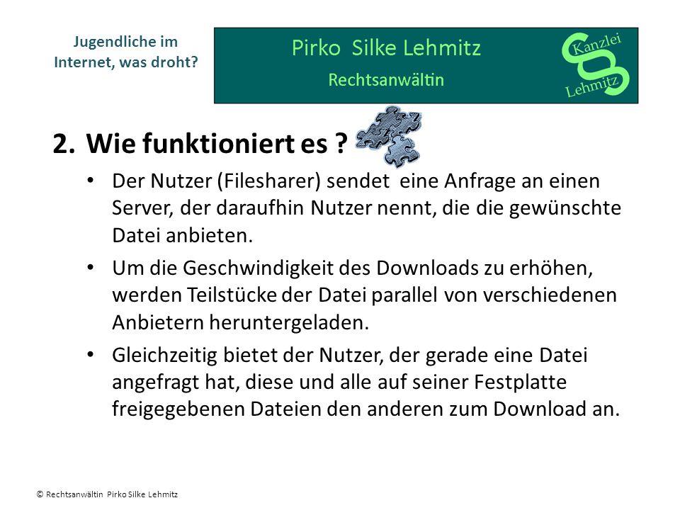 2.Wie funktioniert es ? Der Nutzer (Filesharer) sendet eine Anfrage an einen Server, der daraufhin Nutzer nennt, die die gewünschte Datei anbieten. Um
