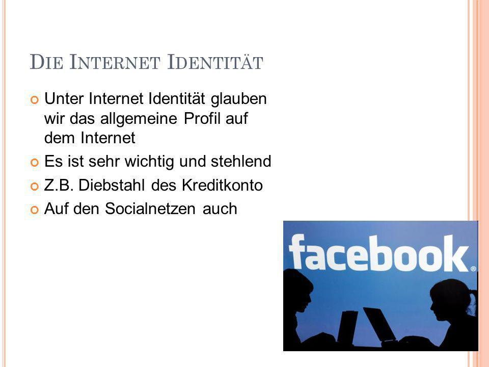 D IE I NTERNET I DENTITÄT Unter Internet Identität glauben wir das allgemeine Profil auf dem Internet Es ist sehr wichtig und stehlend Z.B.