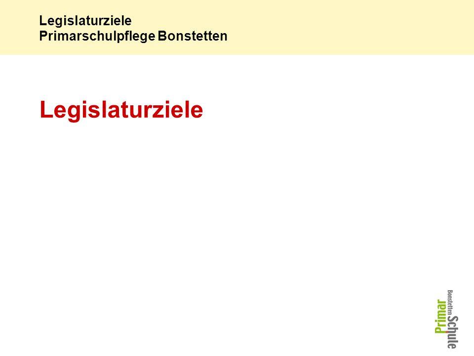 Legislaturziele Primarschulpflege Bonstetten Legislaturziele