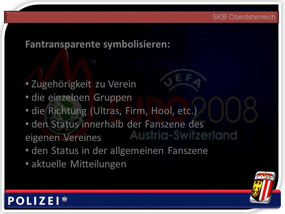 SKB Oberösterreich Fantransparente symbolisieren: Zugehörigkeit zu Verein die einzelnen Gruppen die Richtung (Ultras, Firm, Hool, etc.) den Status innerhalb der Fanszene des eigenen Vereines den Status in der allgemeinen Fanszene aktuelle Mitteilungen
