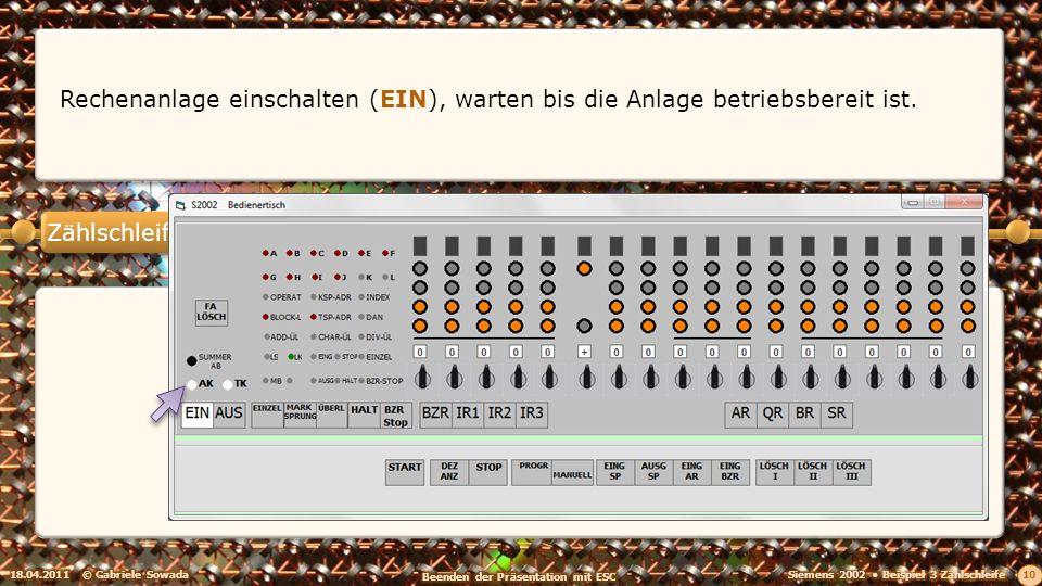 Zählschleife 18.04.2011© Gabriele Sowada 10 Rechenanlage einschalten (EIN), warten bis die Anlage betriebsbereit ist.