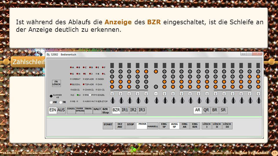 Zählschleife 18.04.2011© Gabriele Sowada 15 Ist während des Ablaufs die Anzeige des BZR eingeschaltet, ist die Schleife an der Anzeige deutlich zu erk
