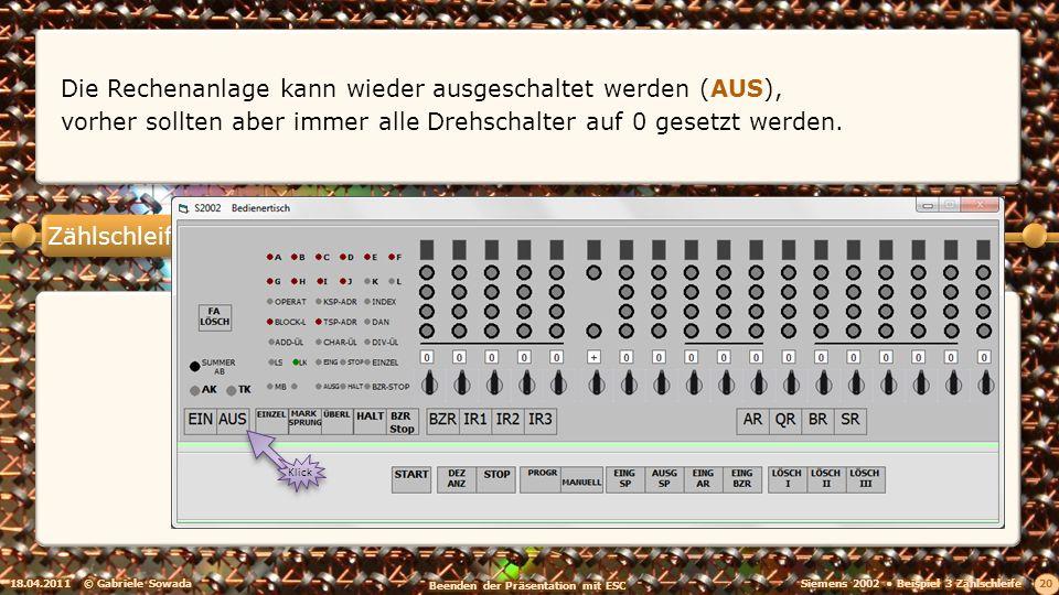 Zählschleife 18.04.2011© Gabriele Sowada 20 Die Rechenanlage kann wieder ausgeschaltet werden (AUS), vorher sollten aber immer alle Drehschalter auf 0