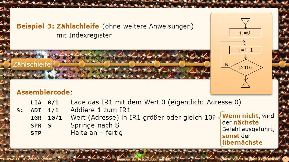 18.04.2011© Gabriele Sowada 5 Beispiel 3: Zählschleife (ohne weitere Anweisungen) mit Indexregister N J i:=0 i10? i:=i+1 Assemblercode: LIA0/1Lade das