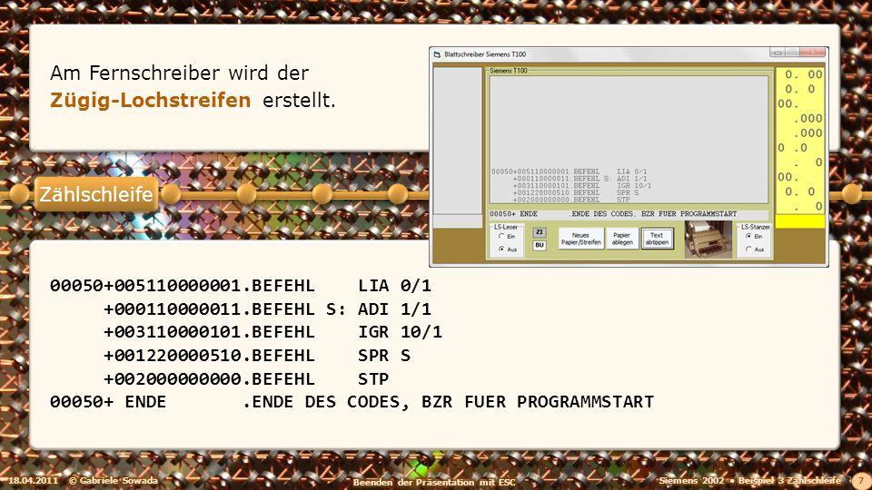 18.04.2011© Gabriele Sowada 7 Am Fernschreiber wird der Zügig-Lochstreifen erstellt. 00050+005110000001.BEFEHL LIA 0/1 +000110000011.BEFEHL S: ADI 1/1