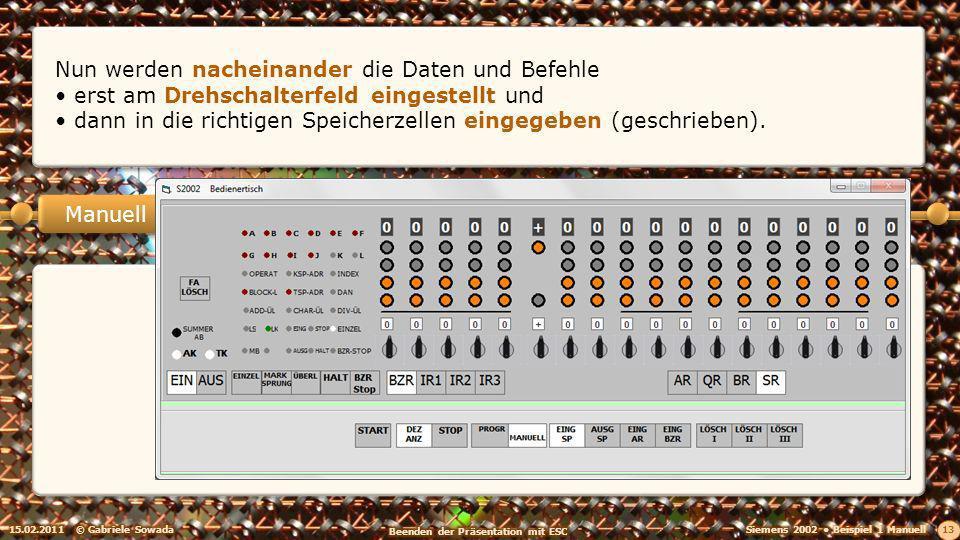 15.02.2011© Gabriele Sowada 13 Manuell Nun werden nacheinander die Daten und Befehle erst am Drehschalterfeld eingestellt und dann in die richtigen Speicherzellen eingegeben (geschrieben).