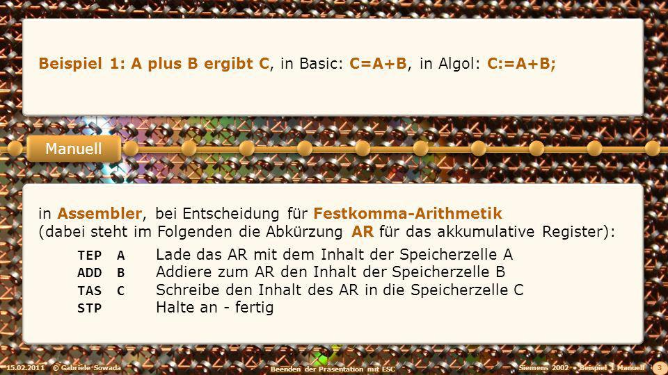 15.02.2011© Gabriele Sowada 3 Manuell Beispiel 1: A plus B ergibt C, in Basic: C=A+B, in Algol: C:=A+B; in Assembler, bei Entscheidung für Festkomma-Arithmetik (dabei steht im Folgenden die Abkürzung AR für das akkumulative Register): TEPALade das AR mit dem Inhalt der Speicherzelle A ADDBAddiere zum AR den Inhalt der Speicherzelle B TASCSchreibe den Inhalt des AR in die Speicherzelle C STPHalte an - fertig