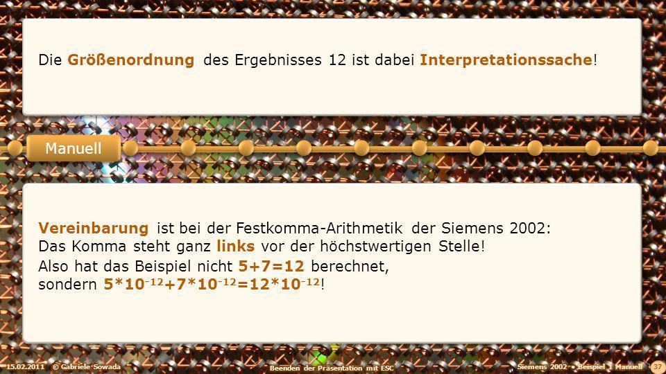 15.02.2011© Gabriele Sowada 37 Manuell Die Größenordnung des Ergebnisses 12 ist dabei Interpretationssache.