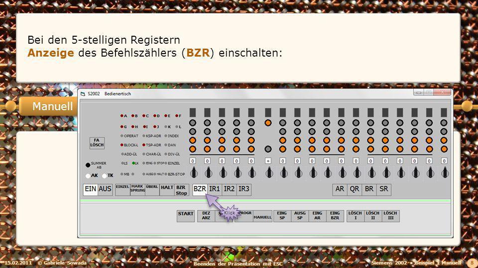 15.02.2011© Gabriele Sowada 29 Manuell EING BZR einschalten Klick und mit START Adresse in das BZR schreiben.