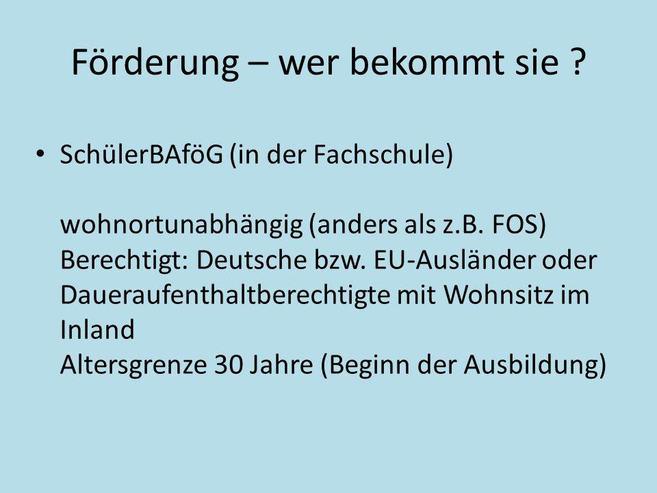Förderung – wer bekommt sie ? SchülerBAföG (in der Fachschule) wohnortunabhängig (anders als z.B. FOS) Berechtigt: Deutsche bzw. EU-Ausländer oder Dau