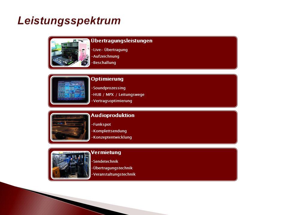 Übertragungsleistungen Live- Übertragung Aufzeichnung Beschallung Optimierung Soundprozessing HUB / MPX / Leitungswege Vertragsoptimierung Audioproduktion Funkspot Komplettsendung Konzeptentwicklung Vermietung Sendetechnik Übertragungstechnik Veranstaltungstechnik