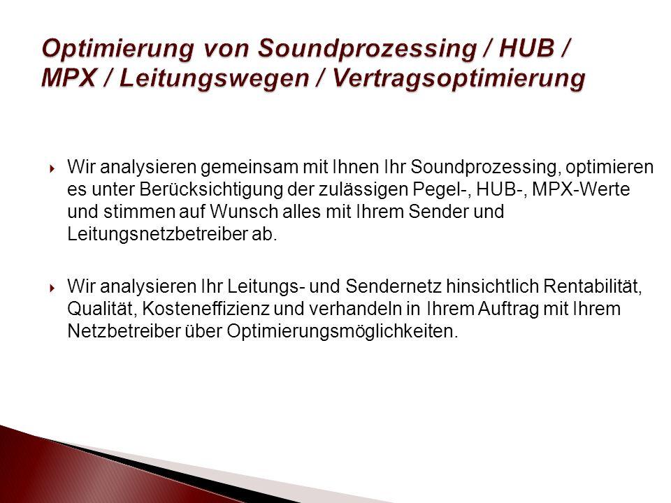 Wir analysieren gemeinsam mit Ihnen Ihr Soundprozessing, optimieren es unter Berücksichtigung der zulässigen Pegel-, HUB-, MPX-Werte und stimmen auf Wunsch alles mit Ihrem Sender und Leitungsnetzbetreiber ab.