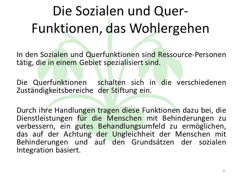 Die Sozialen und Quer- Funktionen, das Wohlergehen In den Sozialen und Querfunktionen sind Ressource-Personen tätig, die in einem Gebiet spezialisiert sind.