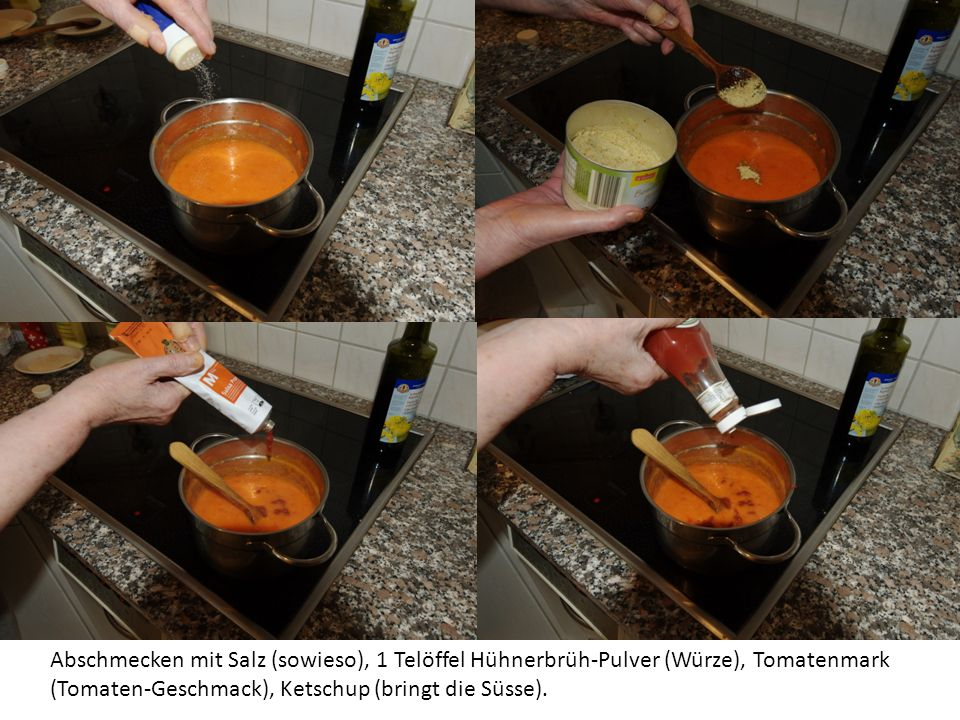 Die Suppe kann rustikal sein (mitkleinen Stückchen drinnen) oder Luxoriös wenn man an dieser Stelle die Suppe durch ein grobes Sieb passiert.