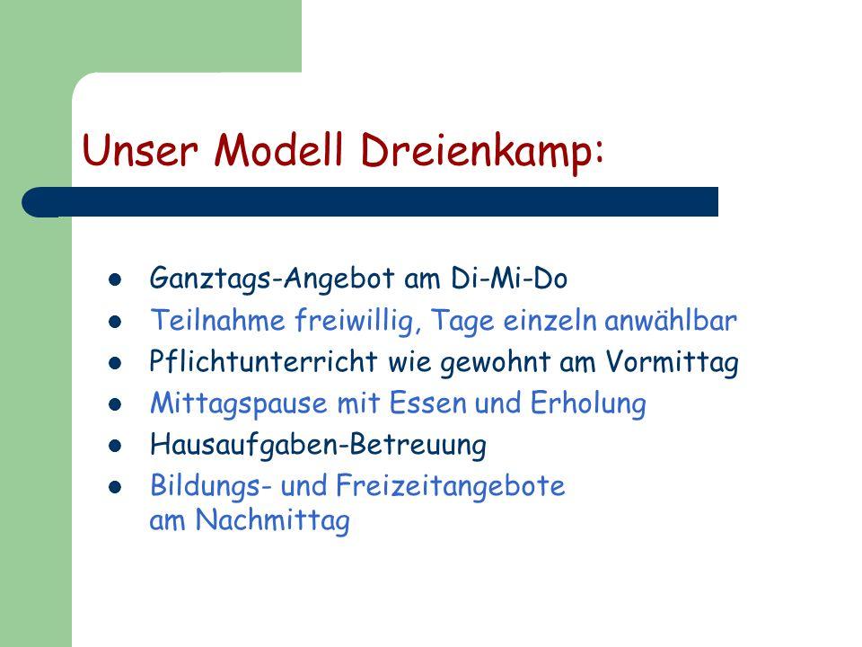 Unser Modell Dreienkamp: Ganztags-Angebot am Di-Mi-Do Teilnahme freiwillig, Tage einzeln anwählbar Pflichtunterricht wie gewohnt am Vormittag Mittagsp