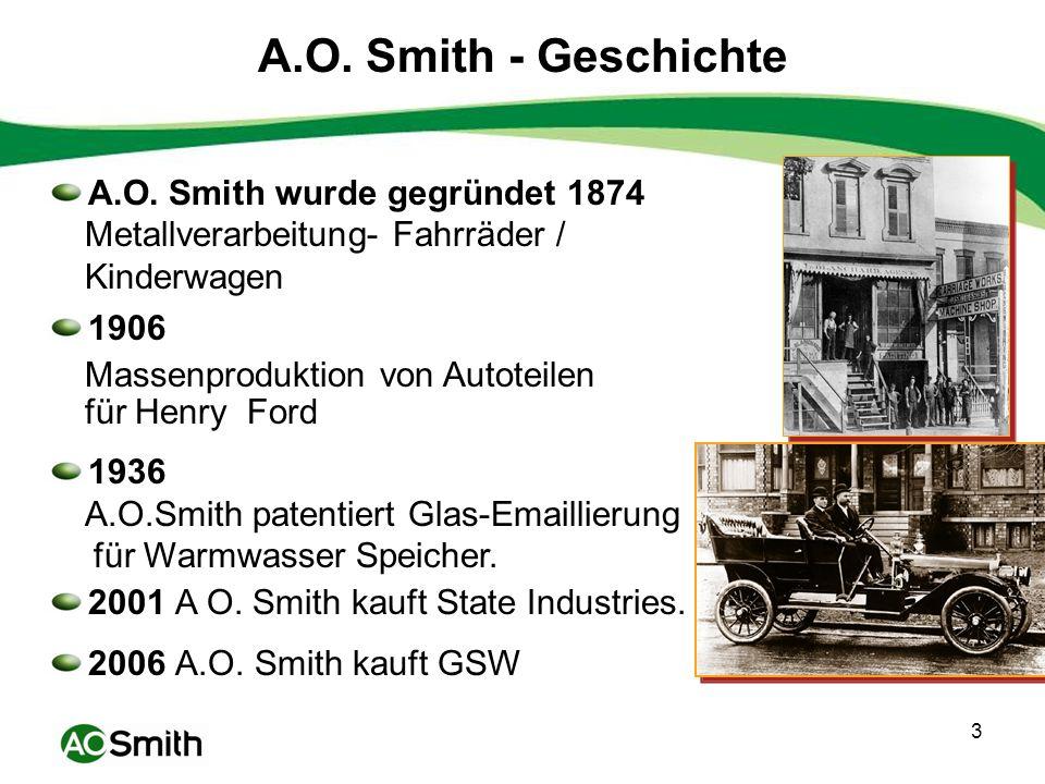 4 Insgesamt 20.000 Mitarbeiter Weltweit 52 Werke in 7 Ländern A.O. Smith - Heute India