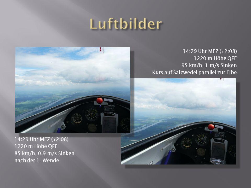 14:29 Uhr MEZ (+2:08) 1220 m Höhe QFE 85 km/h, 0,9 m/s Sinken nach der 1.