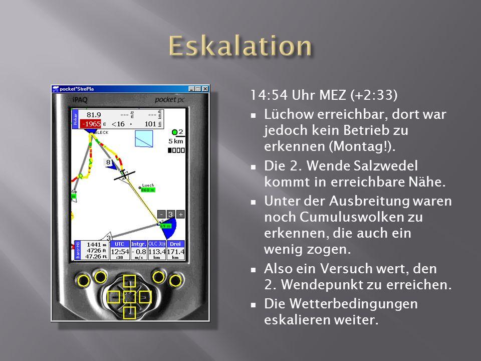 14:54 Uhr MEZ (+2:33) Lüchow erreichbar, dort war jedoch kein Betrieb zu erkennen (Montag!).