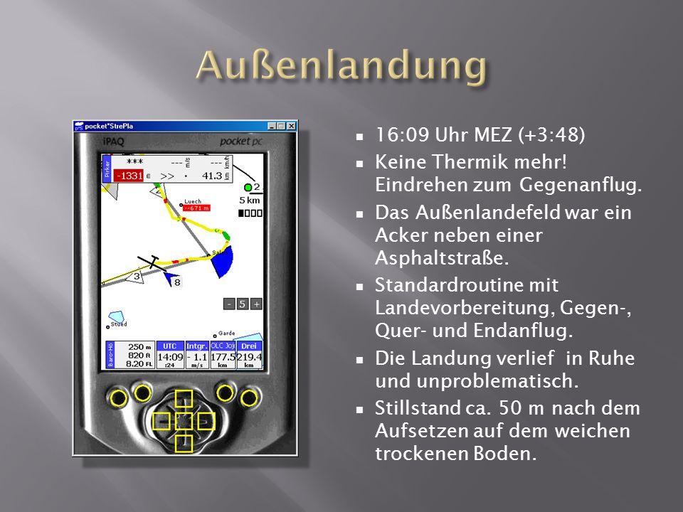 16:09 Uhr MEZ (+3:48) Keine Thermik mehr. Eindrehen zum Gegenanflug.