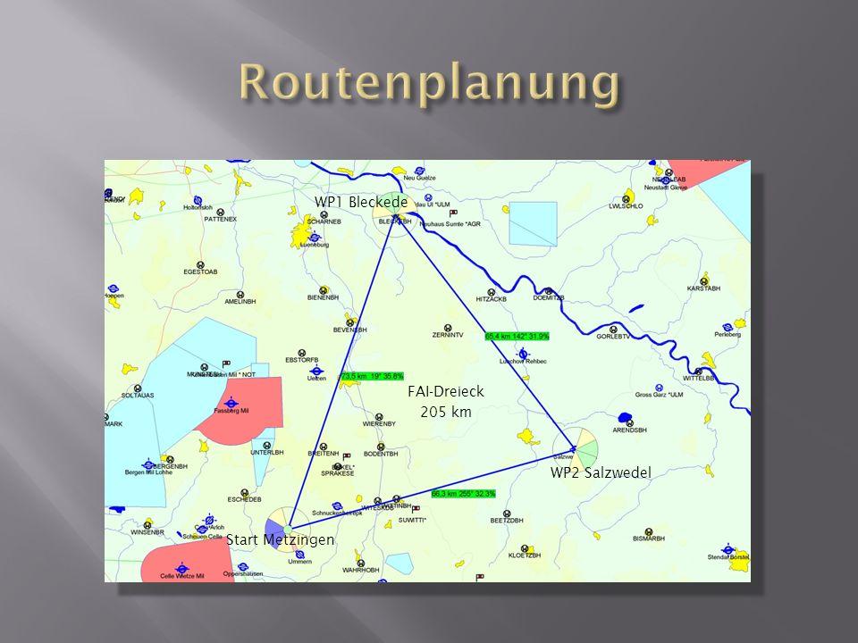 WP2 Salzwedel WP1 Bleckede FAI-Dreieck 205 km Start Metzingen