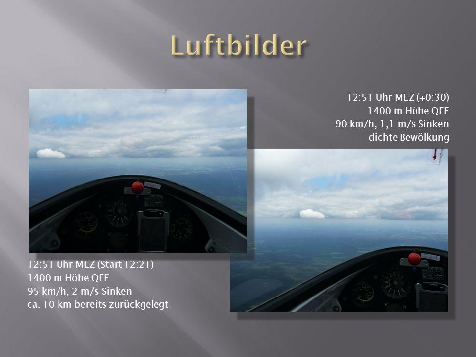 12:51 Uhr MEZ (Start 12:21) 1400 m Höhe QFE 95 km/h, 2 m/s Sinken ca.