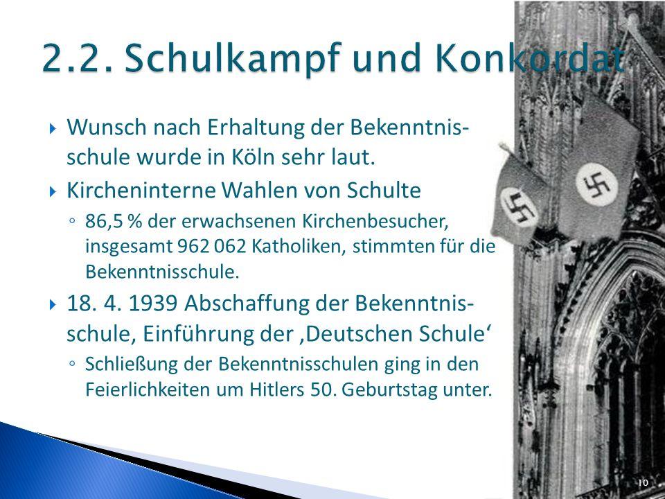 Wunsch nach Erhaltung der Bekenntnis- schule wurde in Köln sehr laut. Kircheninterne Wahlen von Schulte 86,5 % der erwachsenen Kirchenbesucher, insges