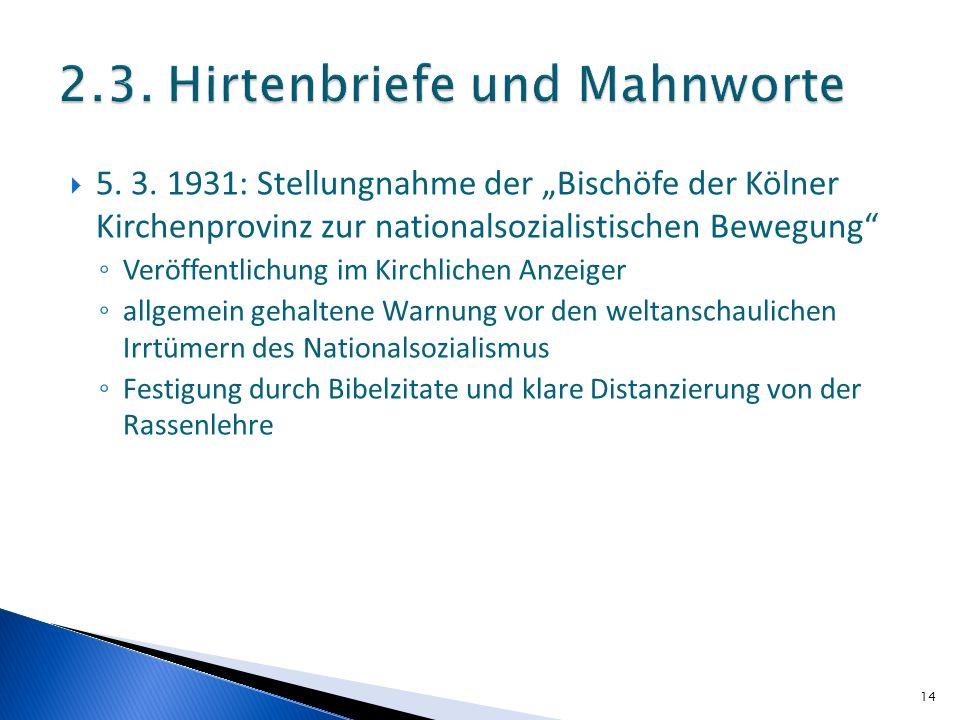 5. 3. 1931: Stellungnahme der Bischöfe der Kölner Kirchenprovinz zur nationalsozialistischen Bewegung Veröffentlichung im Kirchlichen Anzeiger allgeme