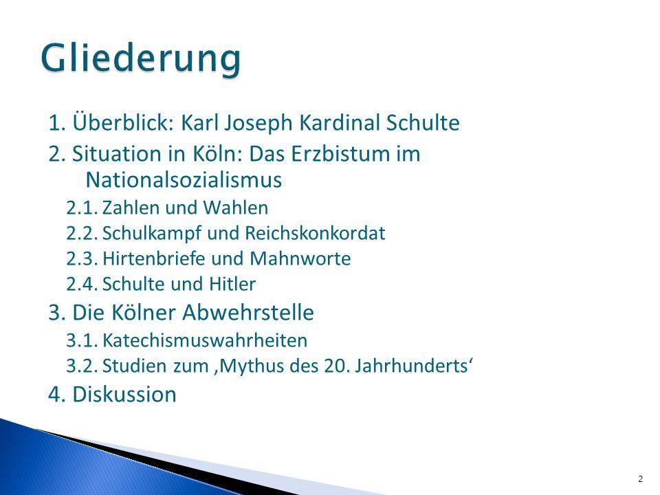 1. Überblick: Karl Joseph Kardinal Schulte 2. Situation in Köln: Das Erzbistum im Nationalsozialismus 2.1. Zahlen und Wahlen 2.2. Schulkampf und Reich