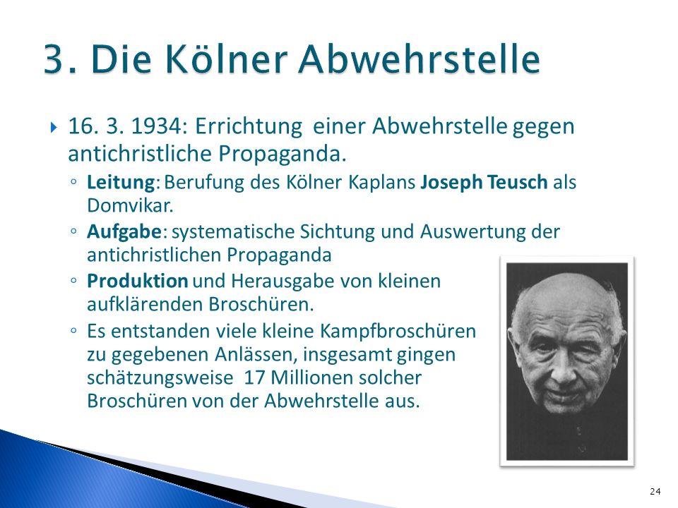 16. 3. 1934: Errichtung einer Abwehrstelle gegen antichristliche Propaganda. Leitung: Berufung des Kölner Kaplans Joseph Teusch als Domvikar. Aufgabe: