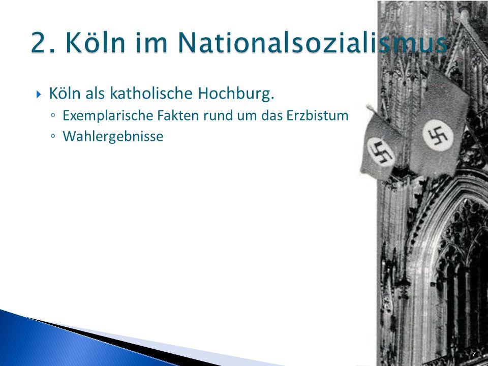 Köln als katholische Hochburg. Exemplarische Fakten rund um das Erzbistum Wahlergebnisse 7