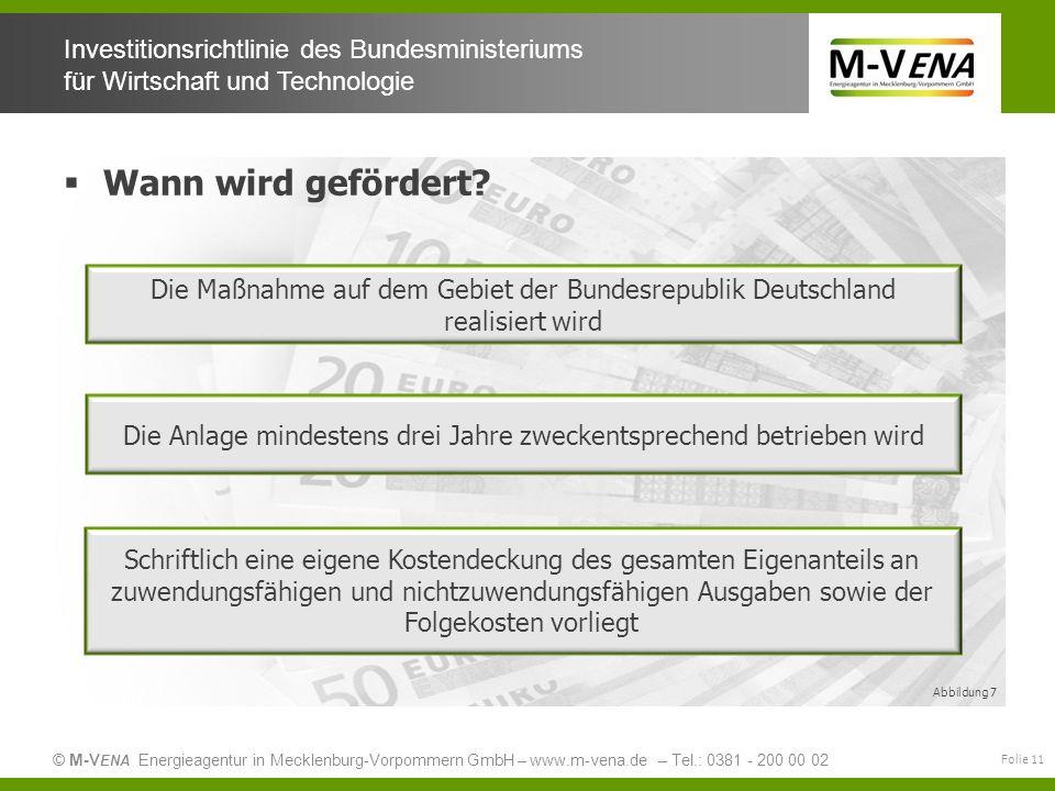 © M-V ENA Energieagentur in Mecklenburg-Vorpommern GmbH – www.m-vena.de – Tel.: 0381 - 200 00 02 Investitionsrichtlinie des Bundesministeriums für Wir