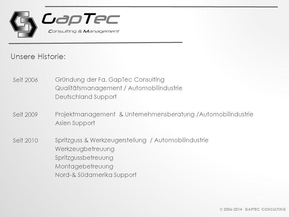 Gründung der Fa. GapTec Consulting Qualitätsmanagement / Automobilindustrie Deutschland Support Projektmanagement & Unternehmensberatung /Automobilind