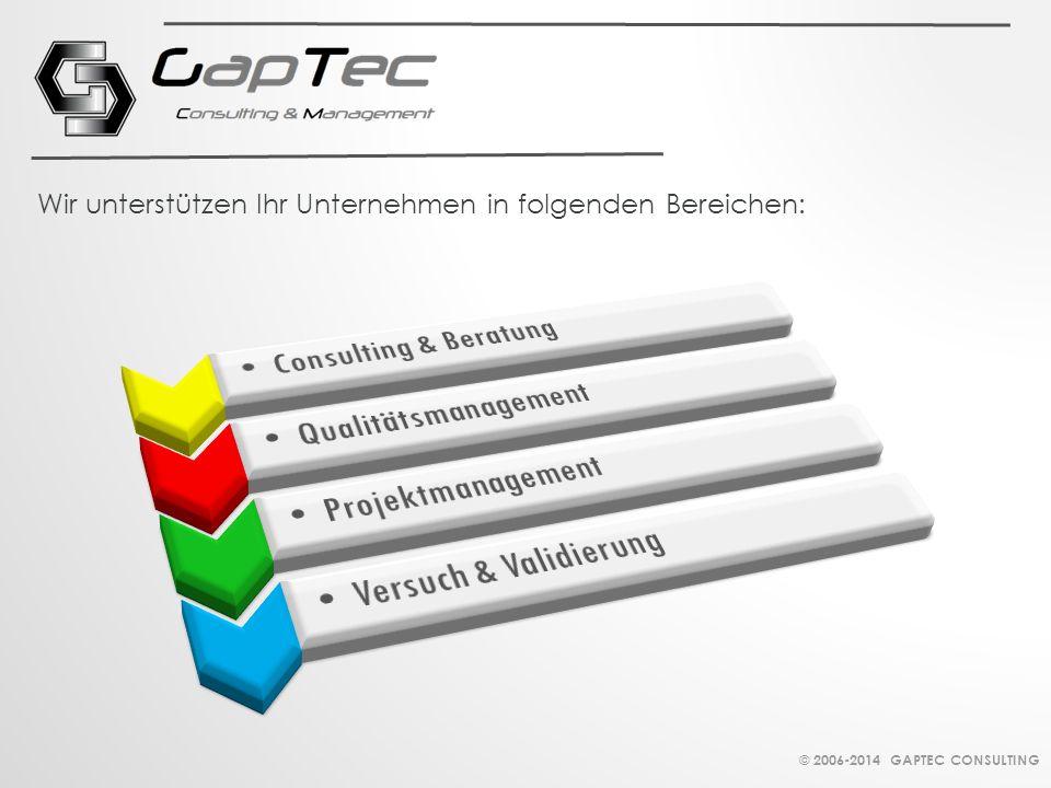 Wir unterstützen Ihr Unternehmen in folgenden Bereichen: © 2006-2014 GAPTEC CONSULTING