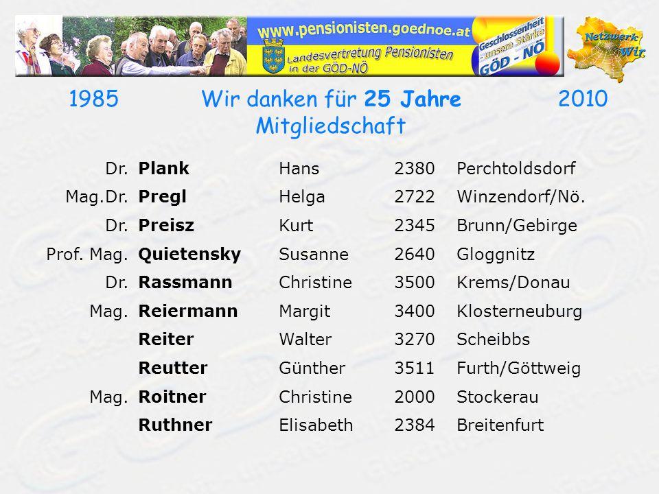 19852010Wir danken für 25 Jahre Mitgliedschaft Dr.PlankHans2380Perchtoldsdorf Mag.Dr.PreglHelga2722Winzendorf/Nö. Dr.PreiszKurt2345Brunn/Gebirge Prof.
