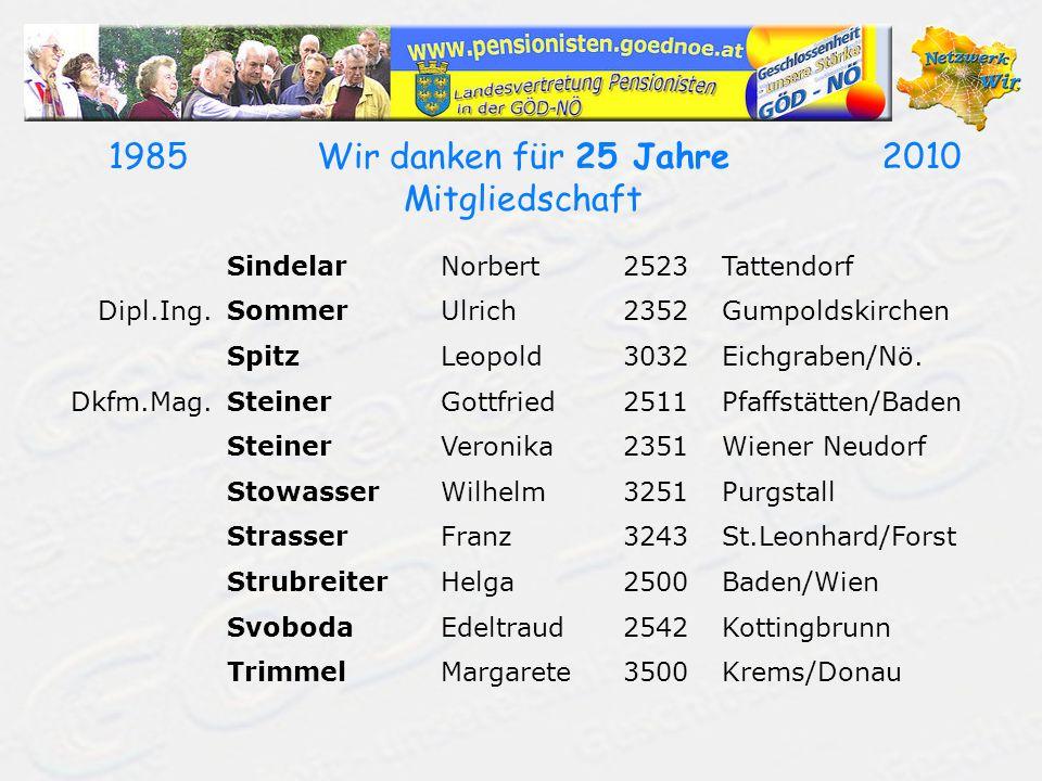 19852010Wir danken für 25 Jahre Mitgliedschaft SindelarNorbert2523Tattendorf Dipl.Ing.SommerUlrich2352Gumpoldskirchen SpitzLeopold3032Eichgraben/Nö. D