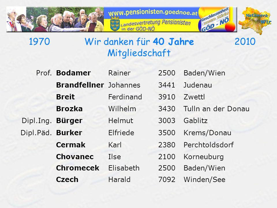 19702010Wir danken für 40 Jahre Mitgliedschaft Prof.BodamerRainer2500Baden/Wien BrandfellnerJohannes3441Judenau BreitFerdinand3910Zwettl BrozkaWilhelm