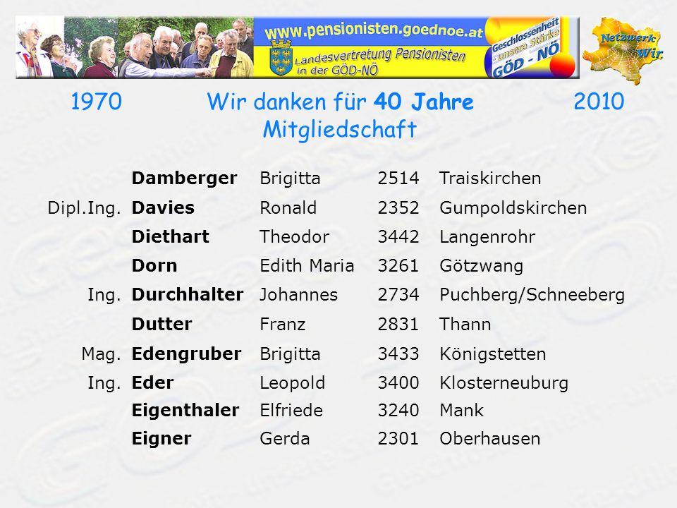 19702010Wir danken für 40 Jahre Mitgliedschaft DambergerBrigitta2514Traiskirchen Dipl.Ing.DaviesRonald2352Gumpoldskirchen DiethartTheodor3442Langenroh