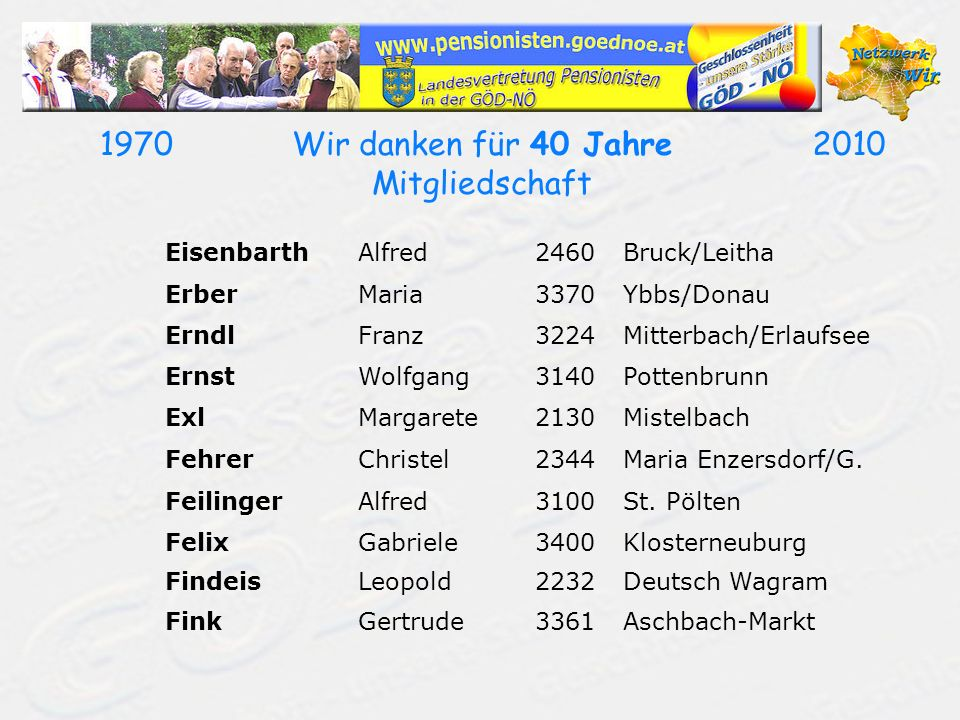 19702010Wir danken für 40 Jahre Mitgliedschaft EisenbarthAlfred2460Bruck/Leitha ErberMaria3370Ybbs/Donau ErndlFranz3224Mitterbach/Erlaufsee ErnstWolfg