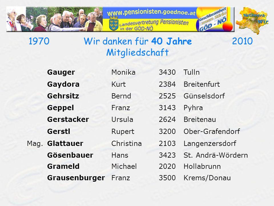 19702010Wir danken für 40 Jahre Mitgliedschaft GaugerMonika3430Tulln GaydoraKurt2384Breitenfurt GehrsitzBernd2525Günselsdorf GeppelFranz3143Pyhra Gers