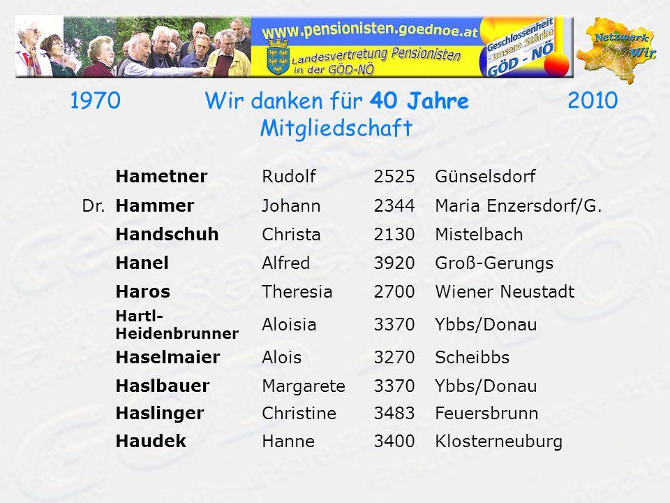 19702010Wir danken für 40 Jahre Mitgliedschaft HametnerRudolf2525Günselsdorf Dr.HammerJohann2344Maria Enzersdorf/G. HandschuhChrista2130Mistelbach Han