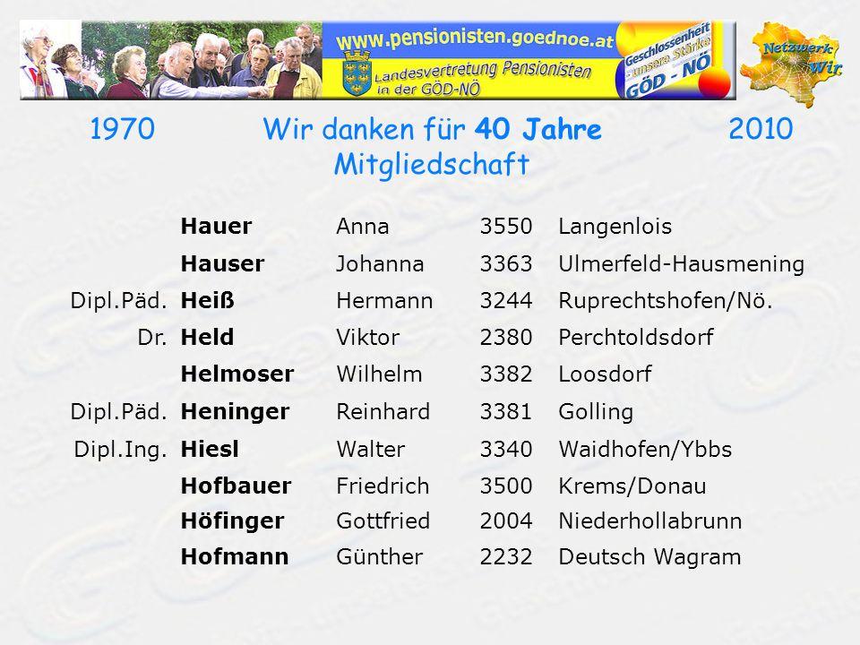 19702010Wir danken für 40 Jahre Mitgliedschaft HauerAnna3550Langenlois HauserJohanna3363Ulmerfeld-Hausmening Dipl.Päd.HeißHermann3244Ruprechtshofen/Nö