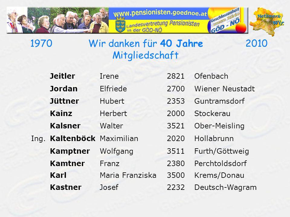 19702010Wir danken für 40 Jahre Mitgliedschaft JeitlerIrene2821Ofenbach JordanElfriede2700Wiener Neustadt JüttnerHubert2353Guntramsdorf KainzHerbert20
