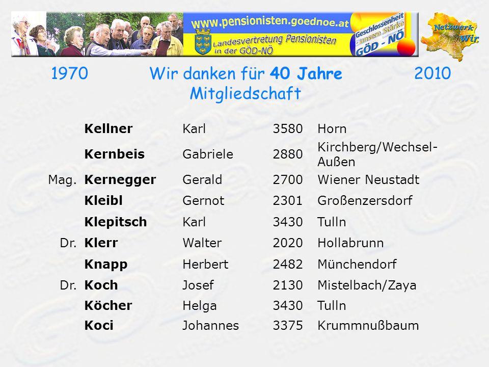 19702010Wir danken für 40 Jahre Mitgliedschaft KellnerKarl3580Horn KernbeisGabriele2880 Kirchberg/Wechsel- Außen Mag.KerneggerGerald2700Wiener Neustadt KleiblGernot2301Großenzersdorf KlepitschKarl3430Tulln Dr.KlerrWalter2020Hollabrunn KnappHerbert2482Münchendorf Dr.KochJosef2130Mistelbach/Zaya KöcherHelga3430Tulln KociJohannes3375Krummnußbaum