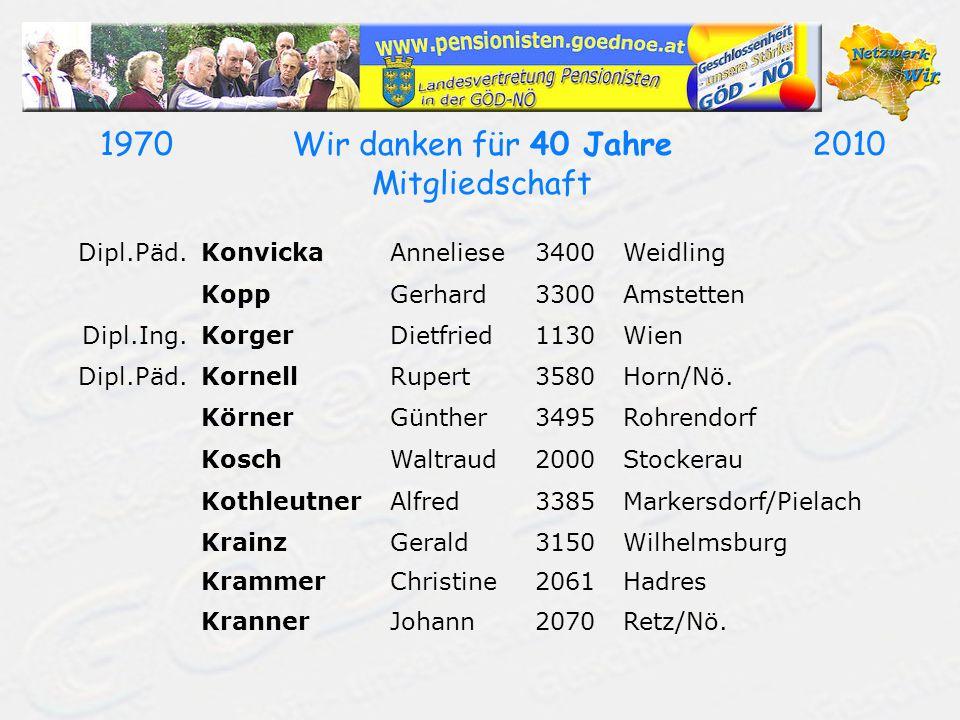 19702010Wir danken für 40 Jahre Mitgliedschaft Dipl.Päd.KonvickaAnneliese3400Weidling KoppGerhard3300Amstetten Dipl.Ing.KorgerDietfried1130Wien Dipl.P